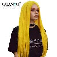Guanyuhair блондинка полный кружево Искусственные парики Человеческие волосы Remy прямо предварительно сорвал желтый парик для черный для женщи