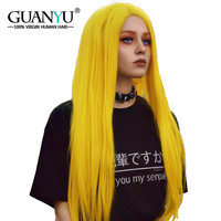 Guanyuhair Blonde Full Lace Wigs Human Hair Remy Straight Pre Plcuked Yellow Wig for Black Women