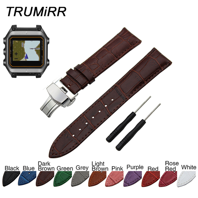 f12d316ad 22mm Calf Genuine Leather Watch Band Butterfly Clasp Strap for Garmin Epix  Forerunner 935 FR935 Sport