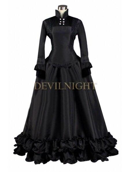Черный С Длинными Рукавами Готический Викторианской Платье Траур Платья - Цвет: Черный