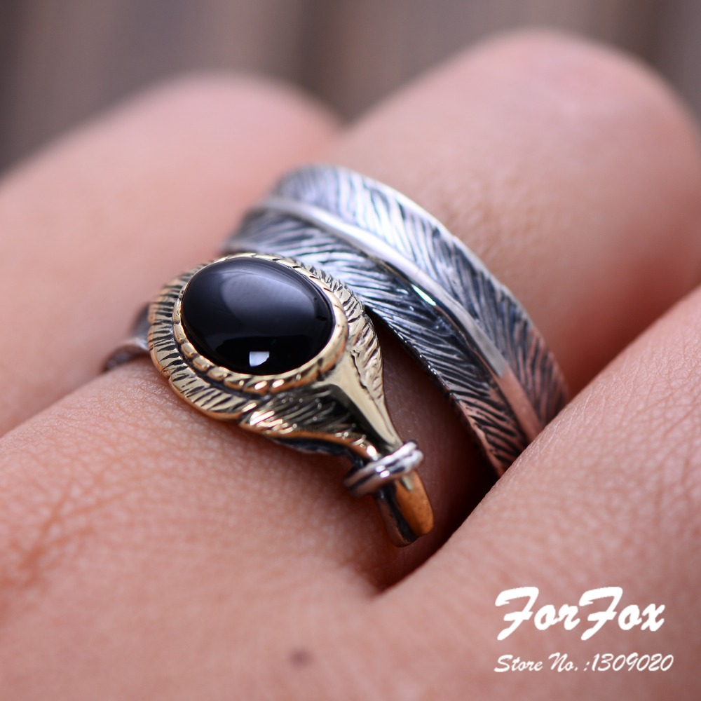 Adjustable Vintage Thai Silver 925 Sterling Silver Bird Feather Ring ...