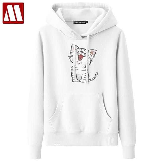 2018 New Sweet Cute Cat Print Hoodie Boys Hoodies Sweatshirt Pullovers Kpop Fans Clothes Oversized Cotton Harajuku Kawaii Tops
