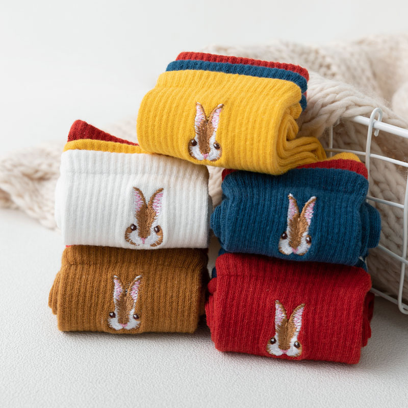 New Lovely Embroidery Bunny Head Cotton Women   Socks   Fashion Color Patchwork Autumn Winter   Socks   Cute Rabbit Candy Color   Socks
