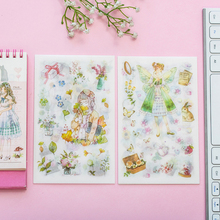 6sheets/pack kawaii pastoral elves and buttenfly fairy adhesive sticker decoration children dairy scrapbooking