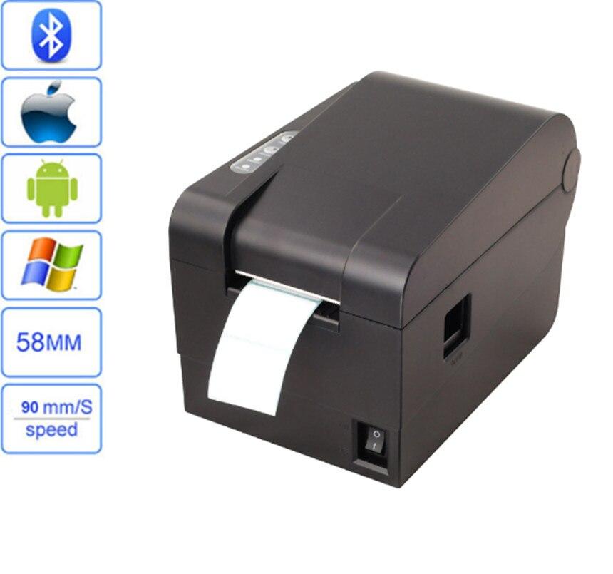 Высокое качество 58 мм Термальность Штрих принтер наклейкой support1D 2D qr-код метка без сушки принтера USB + интерфейс Bluetooth