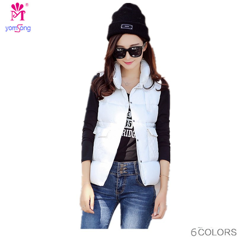 Korean Version Of The New Female Vest Short Cotton Vest Down Cotton Vest Collar  2024 free shipping new arrival 2015 ladies korean version of cultivating all match thickening cotton vest with fur collar