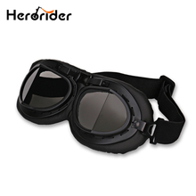 BLACK  Motorcycle Goggles Vintage Scooter Glasses Goggles FOR Motorbike Bike