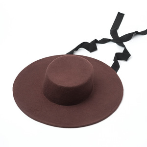 Image 4 - 01906 HH8142 الخريف الشتاء شقة قبعة الجاز الصوف طويل شريط أسود قبعة فيدوراس الرجال النساء الترفيه بنما قبعة