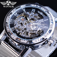 Winner Mens Business Watches Silver Rhinestone Crystal Roman Steel Mesh Slim Strap Clock Mechanical Hand Wind Relogio Masculino