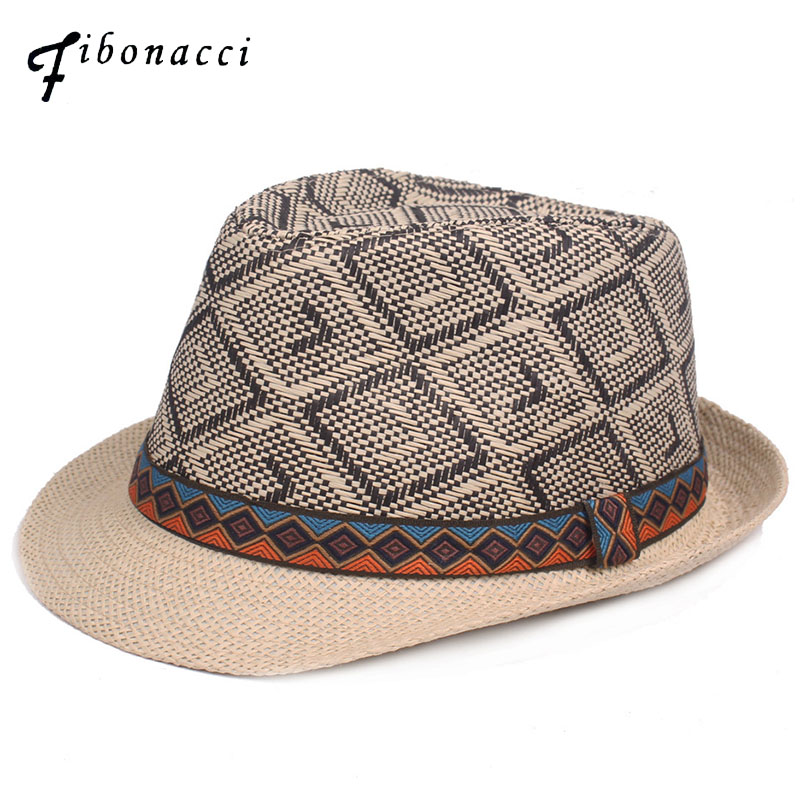 Fibonacci 2018 New Summer Plaid Men's Straw Hat Fedora Fashion British Style Muts Jazz Men Women Hats