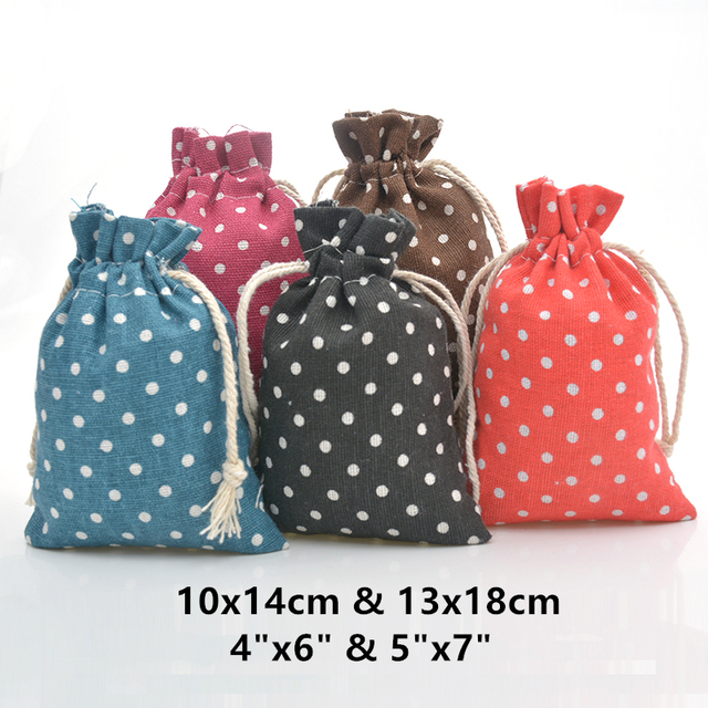 40afb5bf217b 6pcs Polka Dot Bags Cotton Drawstring Bag Linen Gift Candy Bag Jute Treat  Pouch for Wedding Party Favors Sack Baby Shower Decor