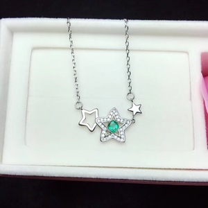 Image 3 - Natural emerald necklace, from the stars, 925 silver, especially beautiful, the price is suitable