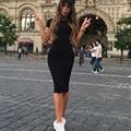 S-XL Плюс Размер Коротким Рукавом Шею Основные Лето Осень Повседневную одежду 2016 Новый Тощий Midi Bodycon Бальные Платья Черный серый