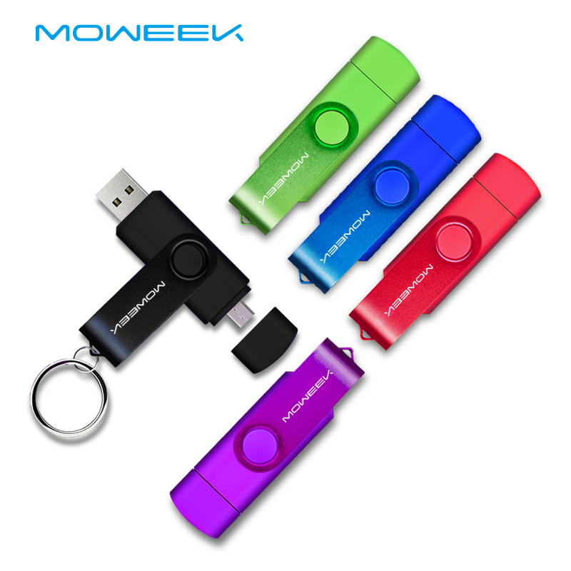Moweek USB Flash Drive 2018 cle usb 2.0 stick 64G otg pen drive Smartphone Pendrive 4g 8g 16g 32g 128G storage devices for gift(China)