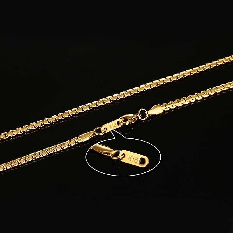 """Meaeguet złoty kolor stal nierdzewna płaskie pudełko łańcuch naszyjniki Rock mężczyźni Link Chain Hip Hop Party biżuteria 24 """"długość"""
