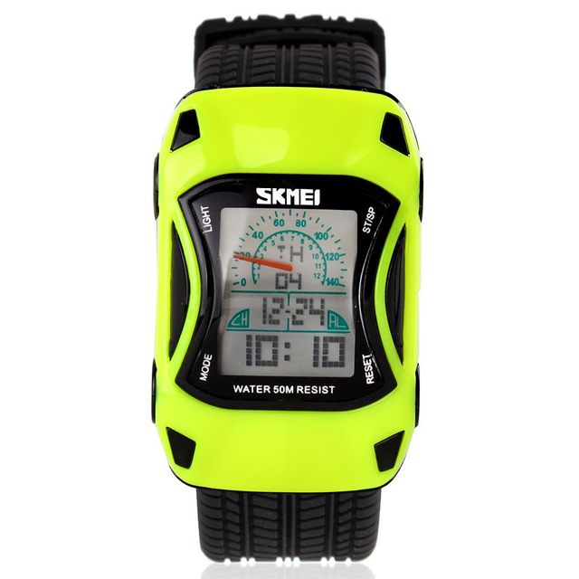 Children quartz digital wristwatch yellow irrugular silicone watch kids car shap