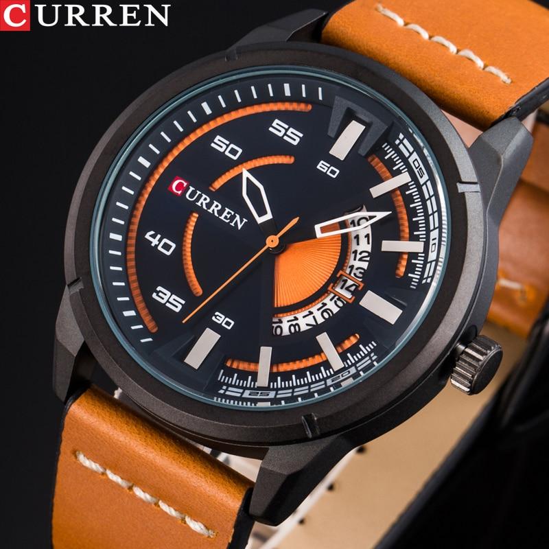 CURREN Hot Fashion Creative Watches Casual Quartz Male Clock Display Date Leather Strap Men Wristwatch Montre Homme Reloj Hombre