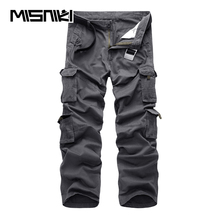 MISNIKI Brand 2018 Spring Autumn Casual Cargo Men Pants Cotton Workout Multi-Pocket Military Tactical Men Trousers Solid Color