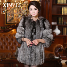 2016 Luxury Genuine Natural Fox Fur Coat 3/4 Sleeve Winter Women Fur Warm Outerwear Coats Lady Clothing 0730