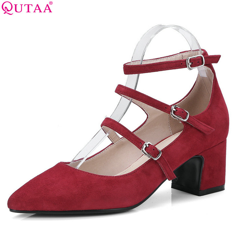 QUTAA 2018 Women Pumps Cow Suede Fashion Women Shoes Pointed Toe Buckle Square High Heel Ladies Wedding Pumps Size 34-39 plus big size 34 47 shoes woman 2017 new arrival wedding ladies high heel fashion sweet dress pointed toe women pumps a 3