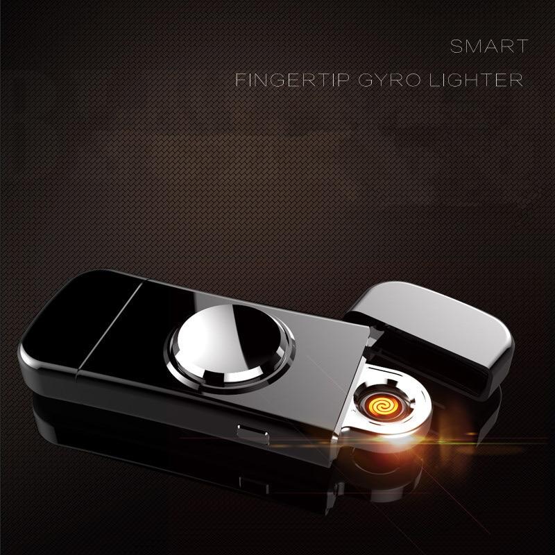 Hand Sprinner Cigarette Lighter USB Charging Windproof Lighters Fingertip Gyroscope Electronic Cigarette Lighter -6011