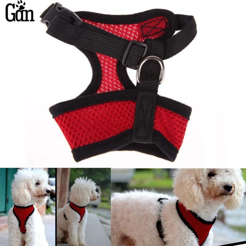 13 Colors Ajustable Comfort Soft Nylon Mesh Vest Harness for Dogs Puppy Cat Pets Soft Air Chest Strap Leash Set Dog Harness