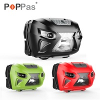 POPPAS Micro USB Cảm Biến Đèn Pha XPG-2 LED chip Sạc Motion xe đạp Head ĐỎ XANH ĐEN 3 Màu Đỏ chế độ ánh sáng ngoài trời