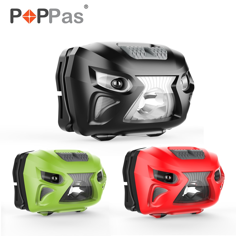 POPPAS Micro USB Sensor HeadLamp XPG-2 LED chip Rechargeable Motion Bicycle Head RED GREEN BLACK 3 Colour Red light mode Outdoor motorcycle bicycle decoration 0 1w 20lm 3 mode hot wheel red silicone light