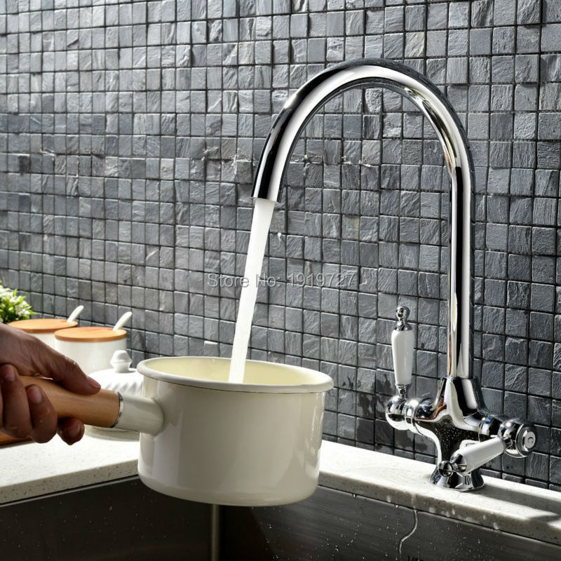 Factory Direct Superheavy Classic Style Solid Brass Dual Handle Chrome Swivel Spout Kitchen Tap Traditional Sink Monobloc Faucet led spout swivel spout kitchen faucet vessel sink mixer tap chrome finish solid brass free shipping hot sale
