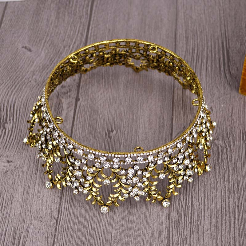 Vintage Gold Round Crown Queen Tiara For Women Hair Jewelry Gold Silver Crysta Crown For Wedding Bride Hair Accessories T-735