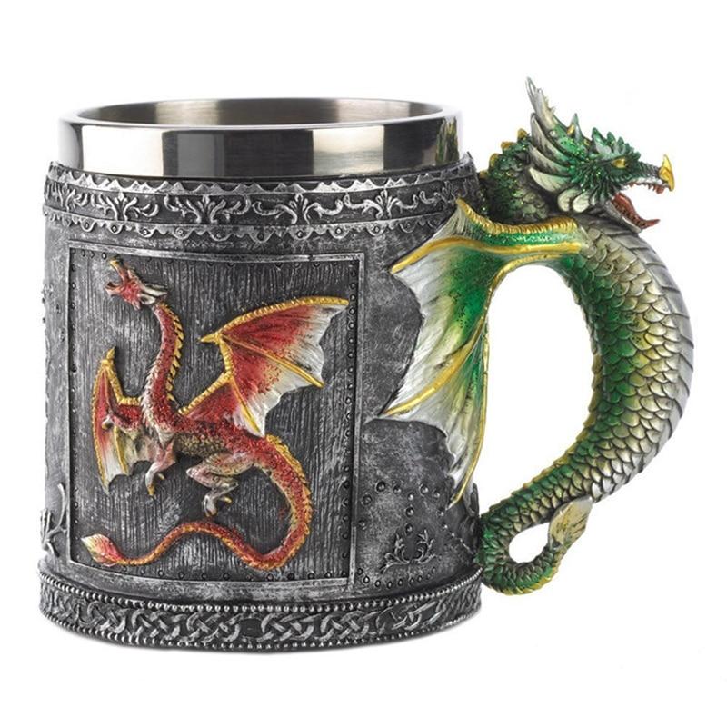 Resin 3D Dragon Mug Tankard Striking Skull Warrior Tankard Viking Skull Beer Mug Gothic Helmet Drinkware