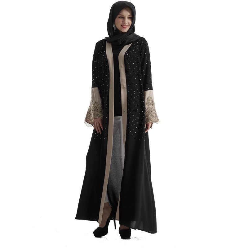 ファッションイスラム教徒大人 Caidigan レースビーズローブイスラム教徒トルコドバイ刺繍オープンアラブアバヤ生き抜くと果実の腐敗