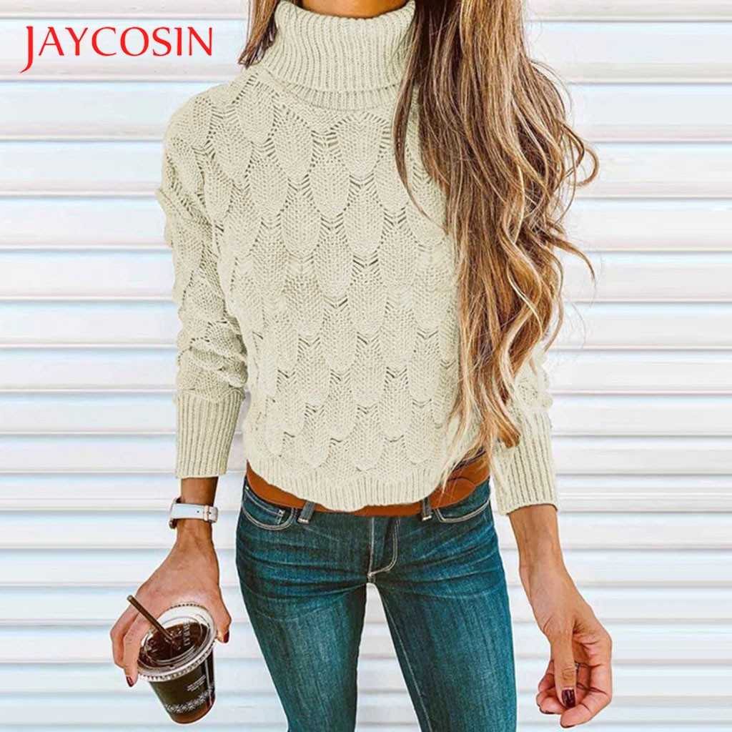 JAYCOSIN winter clothes women Sweater Pullovers Women Long Sleeve casual warm basic turtleneck Sweater female knit Jumpers top 7