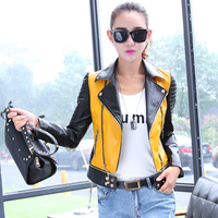 6 Sizes PU Women Leather Motorcycle Jacket Patchwork Color Spring Autumn Zippr Design Women PU Leather