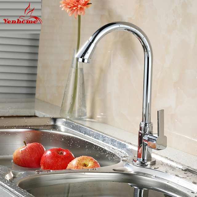 2018 New Faucets Single cold water tap Modern Chrome Solid Brass Water Power Kitchen Faucet Swivel Spout Kitchen Vessel Sink Tap