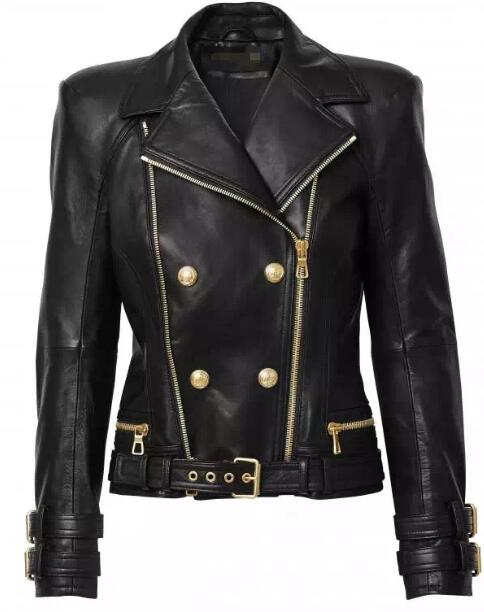 2015 Autumn Spring Limited Edition Genuine Lambskin Leather Short biker Jacket HEM BELT DOUBLE ZIPPERS Gold Buckled LAPEL COLLAR