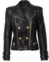 2015 Autumn Spring Limited Edition Genuine Lambskin Leather Short biker Jacket HEM BELT DOUBLE ZIPPERS Gold Buckled LAPEL COLLAR