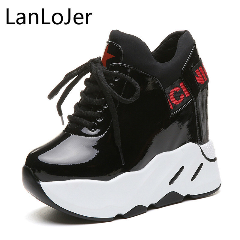 LanLoJer 2018 New Women Casual Shoes Fashion Lace Up Hidden High Heel Wedge Platform Shoes  Leisure Girls Woman Footwear