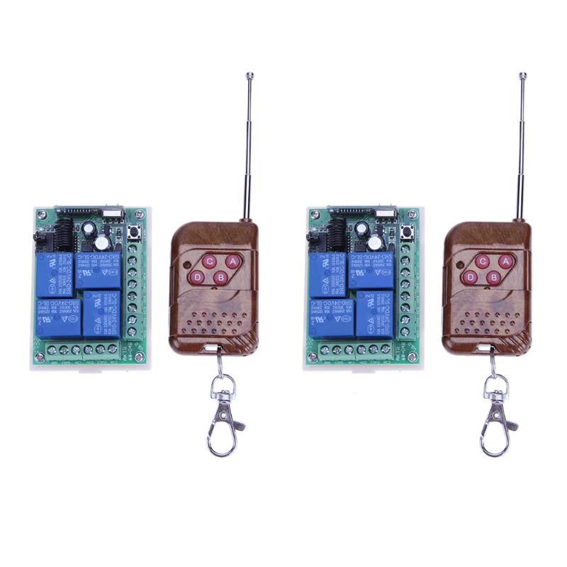 433Mhz Wireless Remote Control Switches 433 mhz 12V 24V DC Module + 4-button RF Remote Controls For Light and Door new 1ch 7v 12v 24v dc relay module switch wifi rf 433mhz wireless remote control timer switches for light work by phone
