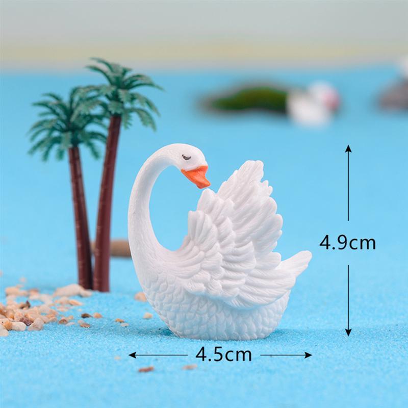 2pc DIY Resin Decorative Mini Beautiful Swan Fairy Garden Decor Dollhouse Accessory Home Decoration Craft Figurines Miniatures
