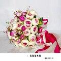 2017 Невесты Свадебный Букет Новый Дешевый Фиолетовый & Ivory Свадебные Цветы Свадебные Букеты Искусственные Свадебный Букет Роза Пион