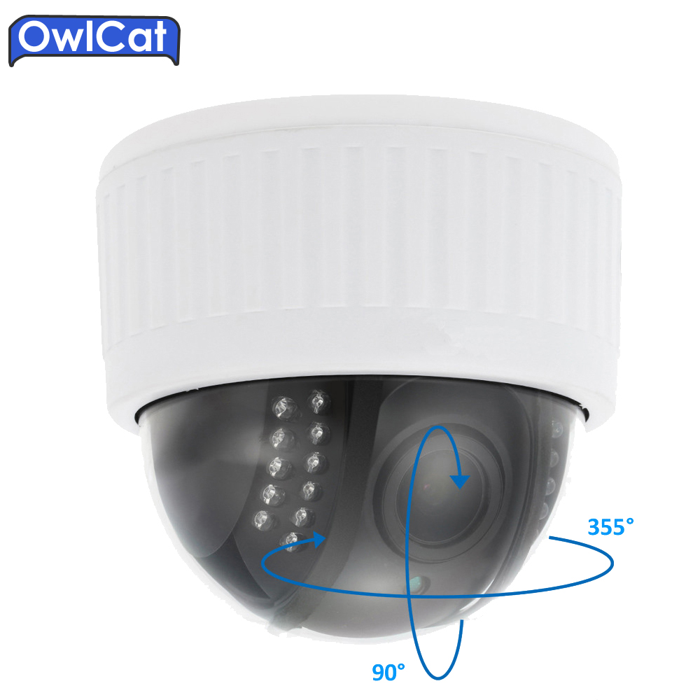 Owlcat HD 1080P Wireless WIFI PTZ IP Camera Indoor Dome Security Camera 5x Zoom Microphone Audio Night Vision Onvif P2P SD Card hd 720p onvif 2 0 security antenna ip camera wifi cmos night vision h264 ptz motion detection ir indoor security camera