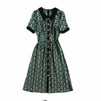European and American women's fashion 2019 spring new style Short sleeve fan print Fashionable green dress