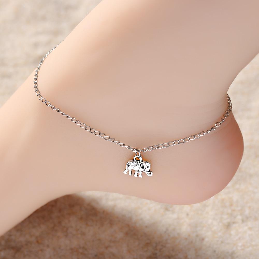 2 Pcs Fuß Kette Tibetischen Silber Überzogene Hohl Elefanten Tier Geformt Fußkettchen Tornozeleira Armband Auf Bein Pulsera Für Frauen Jewel