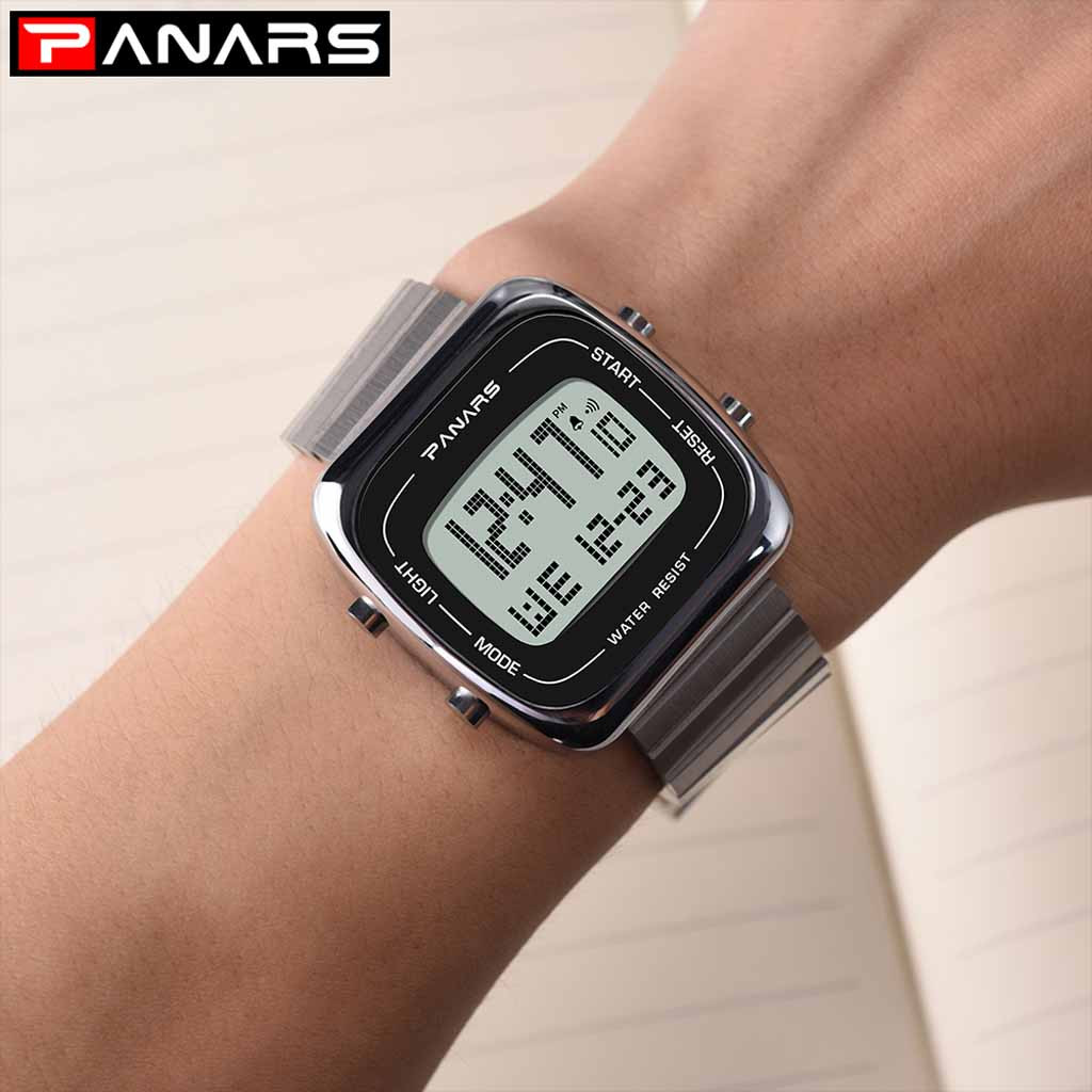 Alloy Steel Belt Men's Large Screen Waterproof Multi Function Electronic Watch Luxury Male Clock Waterproof LED Digital Watch