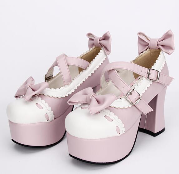 Grueso De Princesa Tacones Chica Mori Impresión Altos Plataforma Lolita Talón Señora Rosado Un Angelical Mujer Bombas Cosplay Zapatos Solo wAS4qOTS