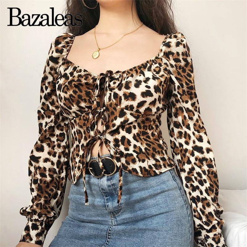 Moda Top Manga Las Leopardo Estampado Completa Y Mujeres 4544cy635 Blusas Blusa Mujer De Frente Lazos Tops qtwzU4