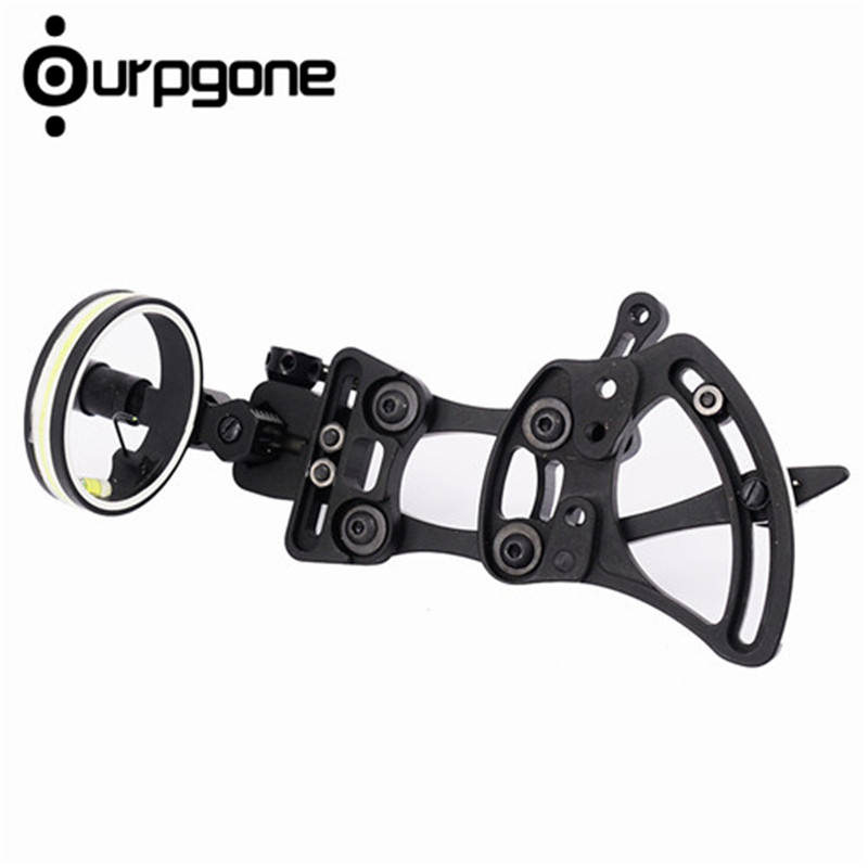 Ourpgone Brand Professional Archery 1 Pin Bow Sight Micro-adjust Hunting Compound Bow Sights Black Color for hunting TP9510 1 pin 0 059 bow sight micro adjust long pole for archery hunting recurve bow