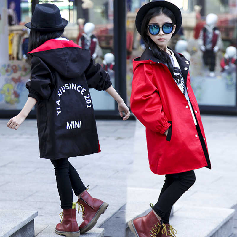 Girl Clothes Long Double-faced Windbreaker Jacket Korean Version of The Little Girl Jacket 3-15 Years Old Tide Girl Jacket