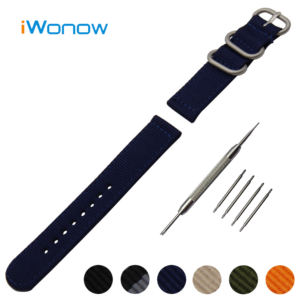 Nylon Watch Band 20mm for Samsung Gear S2 Classic R732 / R735 Stainless Steel Pin Buckle Strap Wrist Belt Bracelet + Spring Bar nylon watch band 22mm for pebble time steel stainless pin buckle strap wrist belt bracelet black blue spring bar tool
